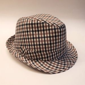 3/$15 Navy and Brown Plaid Fedora